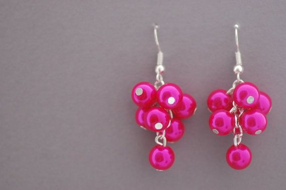 Pink Glass Pearl Cluster Earrings by CherryBlossomJewels0 on Etsy, £5.00