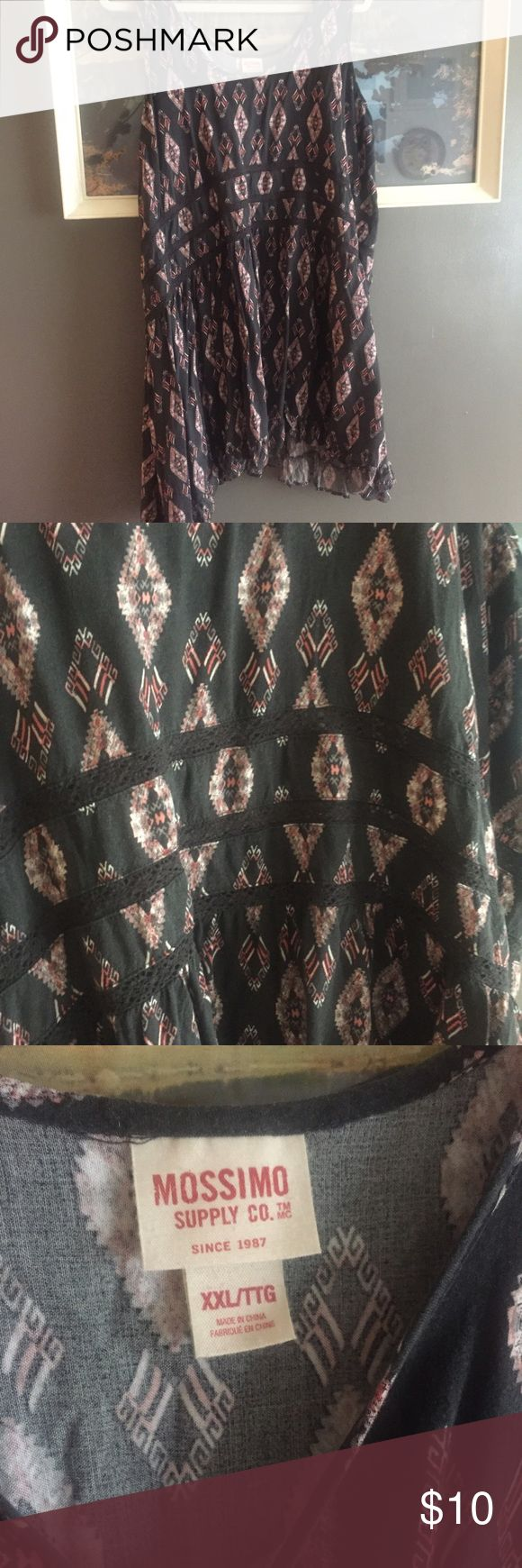 """Boho / Aztec short dress or long top The lace lines are """"see through"""" ... Fits like L or XL, tag is XXL Mossimo Supply Co. Dresses"""