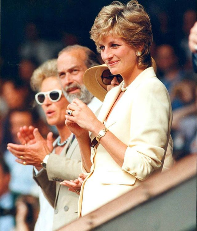 July 9, 1995: Diana, Princess of Wales at the Lawn Tennis Championships in Wimbledon, London