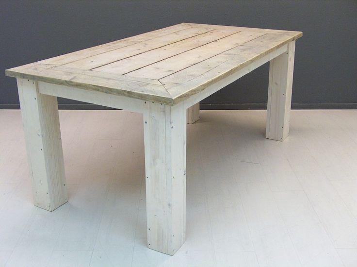 Tafelblad van oud steigerhout en white-wash onderstel (13220131343) | Tafels van steigerhout | JORG`S Houten Meubelen