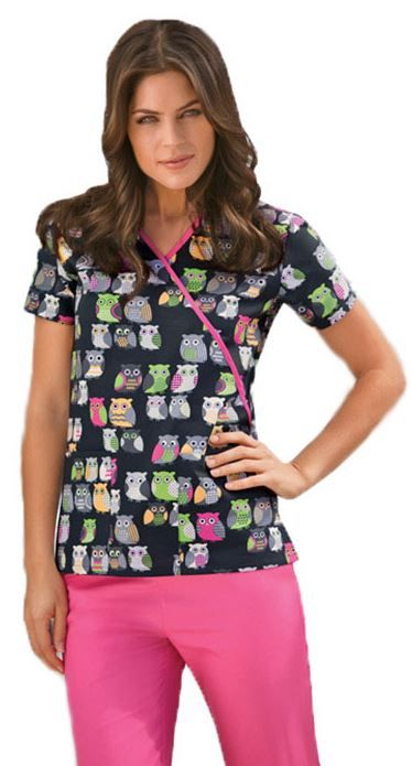 Slim fit mock wrap #scrubtop from Cherokee with lots of cute owls. Print name: Owl Be There.
