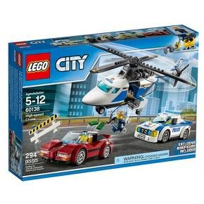 Be part of the action with the LEGO® City police as they call in Chase McCain to help stop the crook escaping with the loot in the stolen sports car. This set features a police helicopter with spinning rotors and a lowering winch with hook, police pursuit car, stolen sports car and a barrier. Includes 4 minifigures. <br>• Build a police helicopter with spinning rotors, a police pursuit car, and a sports car full of stolen loot for them to chase down!<br>&bull...