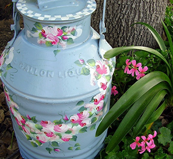 Vintage Shabby Chic Painted Metal Can Baby Blue