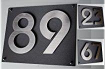 Hausnummer /Hausschild Edelstahl H20cm/200mm in 2D Design ITC-Bauhaus (0 1 2 3 4 5 6 7 8 9) und 1 x Acryplatte 35cm x 28cm in diamant-anthrazit - mit Zusatzbefestigung