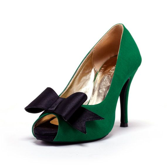 Custom Made Wedding Heels, GreenWedding Heels with Front Bow, Green Wedding Shoes, Emerald Green Bridal Shoes $150
