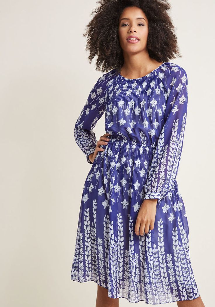 Long Sleeve Midi Dress with Gathered Waist in XXS - A-line Knee Length