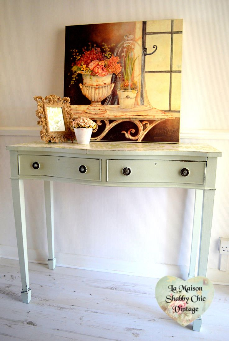 Large Mint Wood Console Table 2 Draws