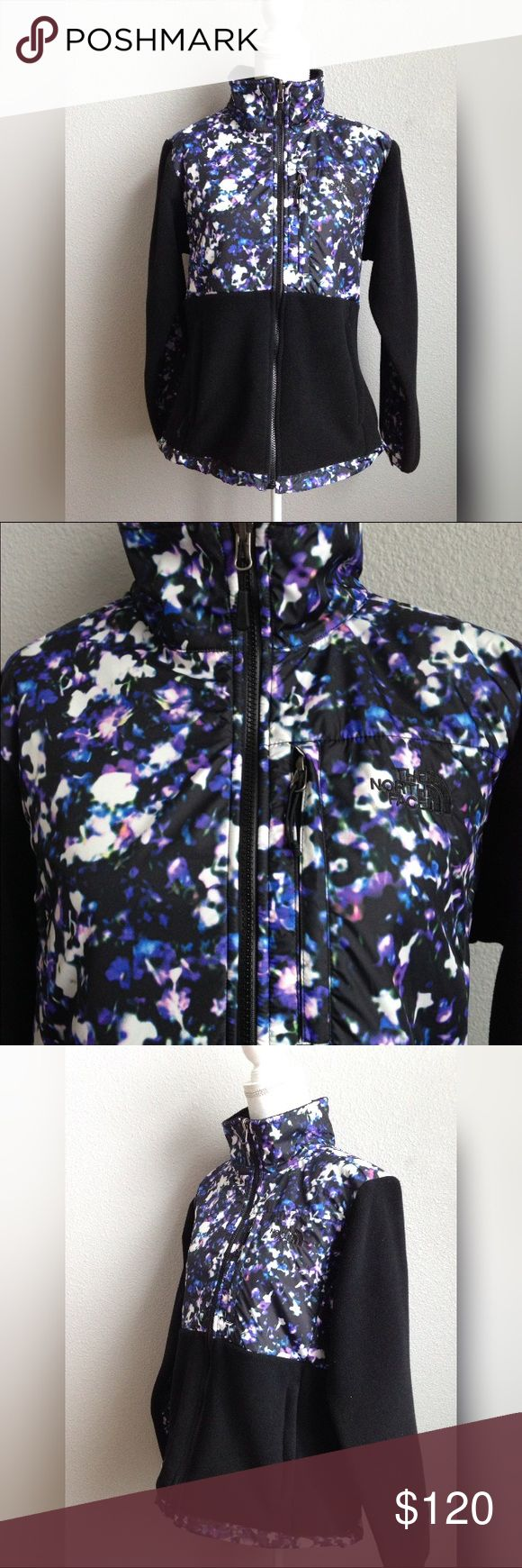 "The North face Black Floral Crystal Fleece Zip Up The North Face Women's Denali Fleece Zip Up Sweater Jacket  Size Large MSRP $179  Measurements laying flat: 22"" pit to pit x 26"" length  Floral Crystal print  Polyester fleece, extremely warm material perfect for outdoor activities  Style: Denali, classic full zip fleece jacket with nylon panel detailing throughout    Please message me if you have any questions  Thank you! The North Face Jackets & Coats"