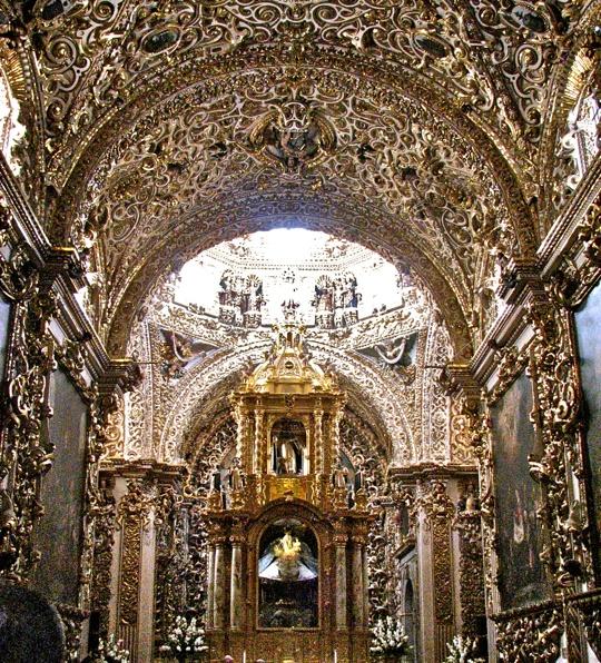 Entrance to the Capilla del Rosario, left of the main altar. Convent of Santo Domingo, Puebla, Mexico. A.D.1650-1690.