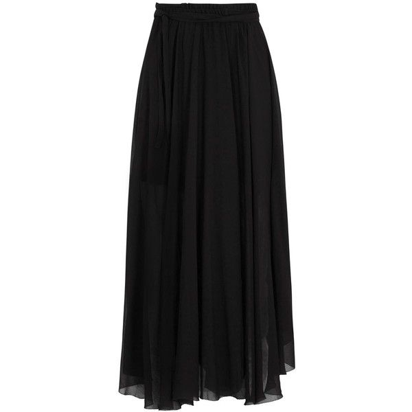 Womens Midi Skirts Isabel Marant Étoile Amery Black Georgette Wrap... ($325) ❤ liked on Polyvore featuring skirts, wrap front skirt, georgette skirt, calf length black skirt, black skirt and black wrap skirt