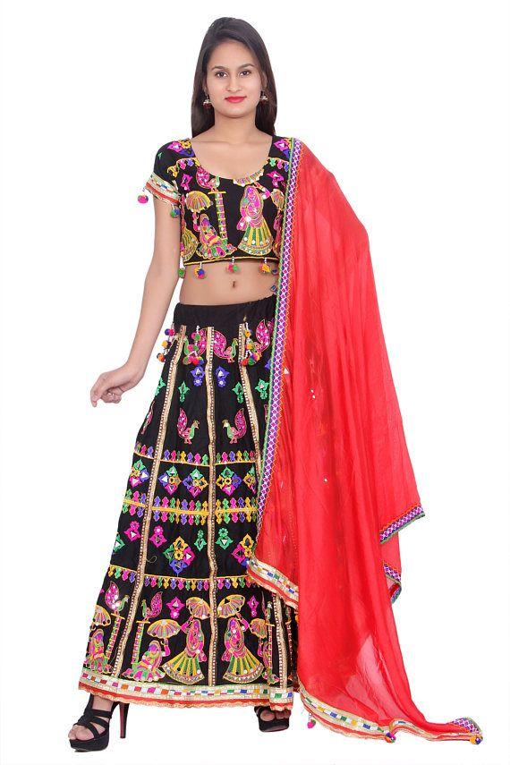 062df4955a Indian Ethenic Handmade Black Lehenga Choli Dupatta Set for Women ...