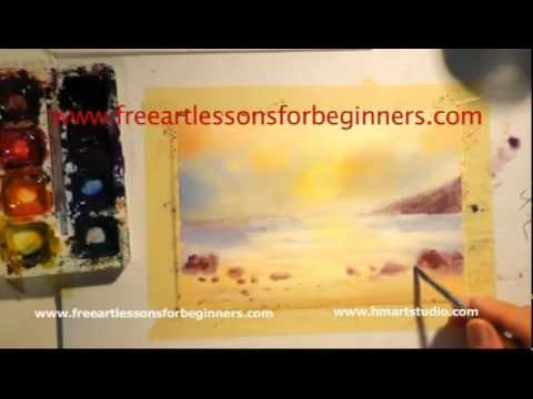 Free Art Lessons for Beginners - Painting with Watercolors SUNSET