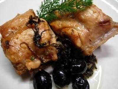 Coniglio al forno con olive