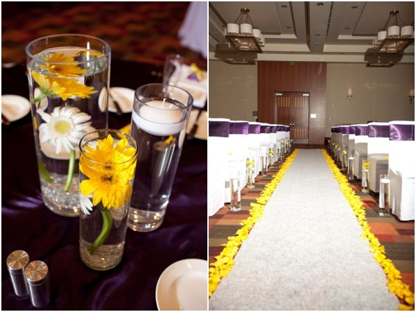 84 best wedding table decorations images on pinterest floating candle centerpieces floating gerbera daisy centerpieces purple and yellow tablescape classic purple and yellow reception white junglespirit Images