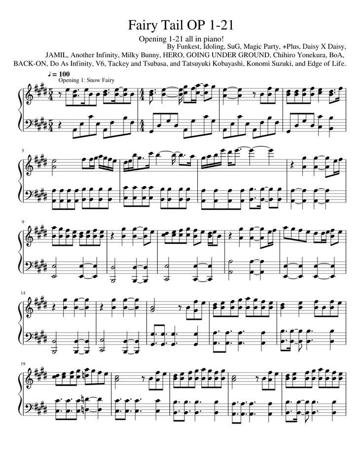 Fairy Tail openings 1-21 piano sheet music made by Yukine the Sekki.