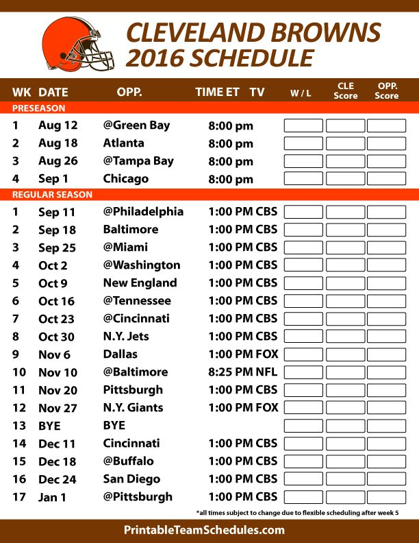 photo regarding Indians Schedule Printable called Cleveland browns pre period routine