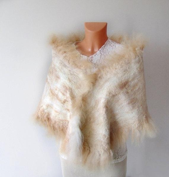Felted scarf wrap Wedding Fur White beige #wedding #wrap #felted #scarf #fur #alpaca #wool #felt $97.00