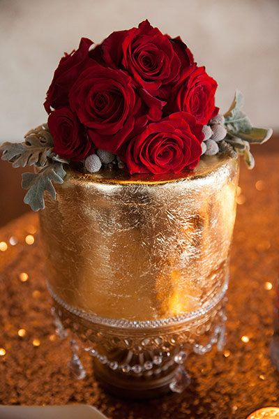 Go for the gold with a metallic wedding cake.