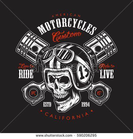 Vintage motorcycle print with skull in motorcycle helmet ...