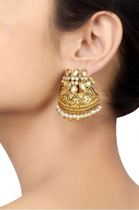 Silver Gold Plated Crystal Pearl Jaali Earrings