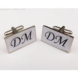 Custom Cufflinks - Personalised Initial Cufflinks (Rectangle) - made to order