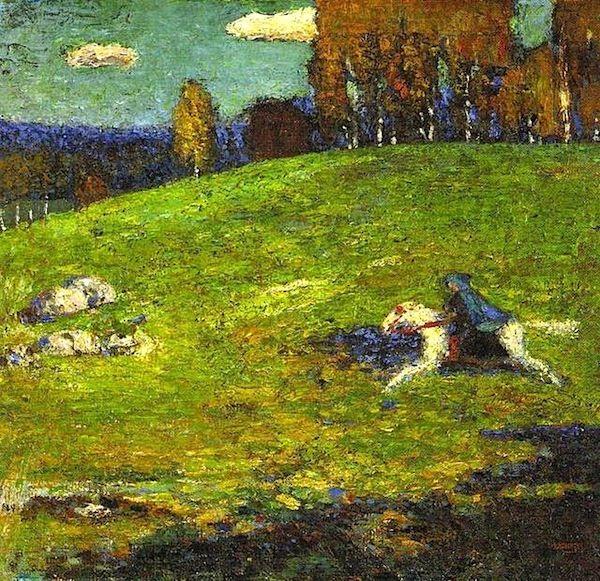 Vasilij Kandinskij, Der Blaue Reiter, 1903. Nel 1911, Kandinskij, Gabriele Münter, Franz Marc e August Macke danno finalmente vita al gruppo artistico che battezzano Der Blaue Reiter, Il Cavaliere azzurro.