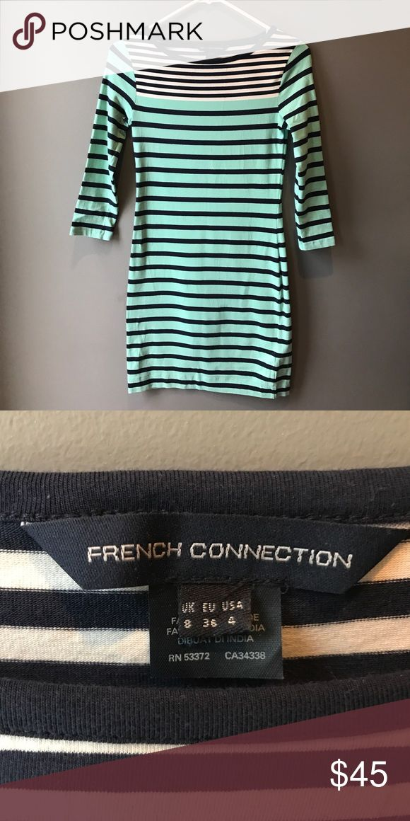French Connection striped mini dress This adorable striped mini dress by French Connection is perfect for spring/summer. The navy, mint, and white stripes give it a preppy/flirty feel. French Connection Dresses Mini