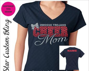 Custom Team Cheer Mom Glitter Dolman Shirt by AllStarCustomBling