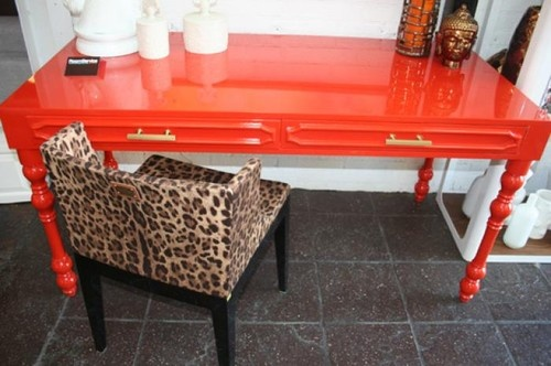 Love the animal print chair with this mandarin orange desk.: Mandarin Oranges, Office, Color, Desks, Orange Desk, Hollywood Desk, Leopard, Orange Hollywood
