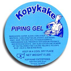 Kopykake Piping Jelly:    With this clear jelly, a few drops of our Kroma Kolors, and our disposable piping bags,you can always have the desired amounts and colors of jel on hand at all times.