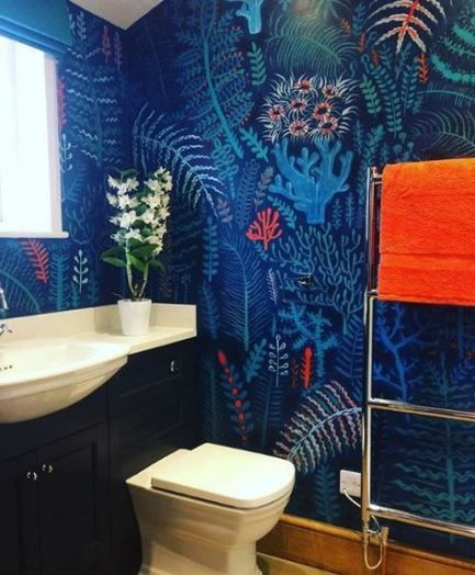 36 ideas for bathroom blue orange coral  blue wallpapers