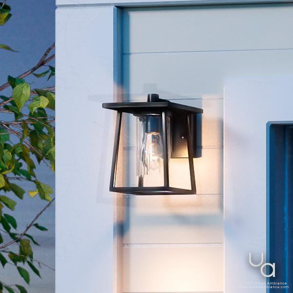 Uql1090 Craftsman Outdoor Wall Light 9 H X 6 5 W Black Silk Finish Lisbon Collection Outdoor Wall Lighting Wall Lights Exterior Light Fixtures