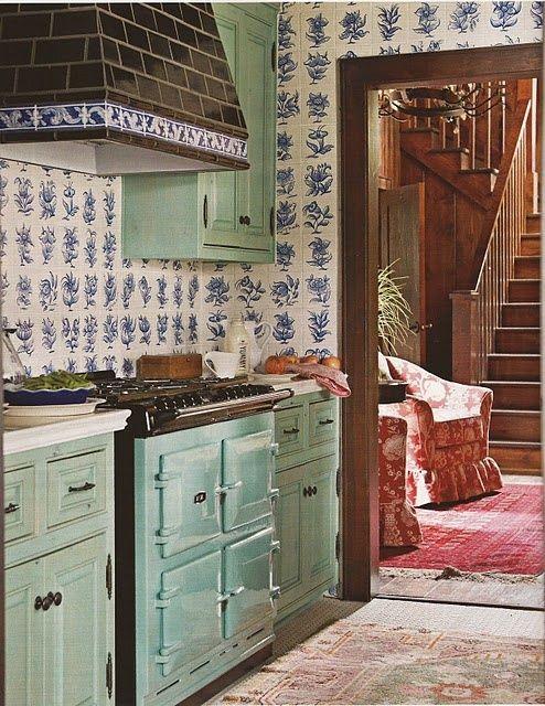 : Delft Het AGAhuis; leuke combinatie Delfts blauw en mint groen