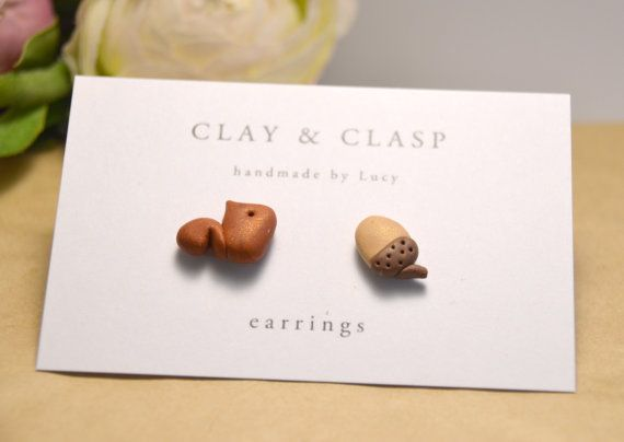 Squirrel and Acorn Earrings - beautiful handmade polymer clay jewellery by Clay & Clasp on Etsy, £12.50