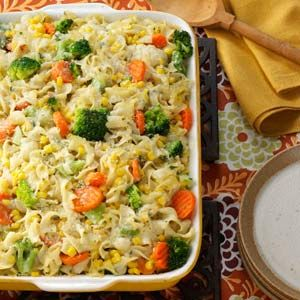 vegetable noodle casserole...make with cream of mushroom soup instead of cream of chicken