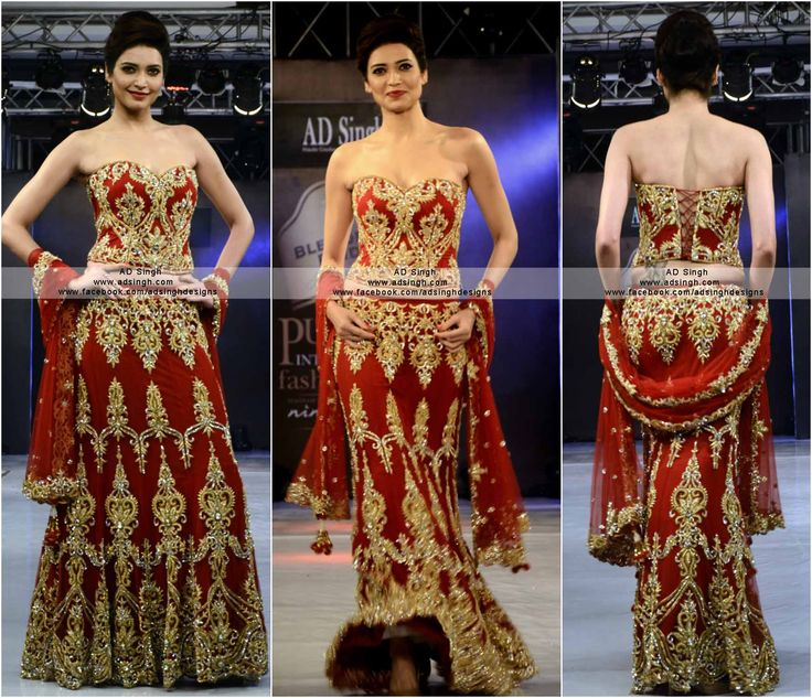 Bollywood actress Karishma Tanna in an AD SINGH Couture Bridal lehenga with gold zardosi and swarovski. #fashion #adsingh #couture #bigboss8 #bridal #lehenga   for more info email: info@adsingh.com