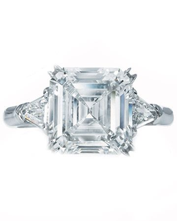Platinum Engagement Ring from Harry Winston    Asscher-cut diamond in a platinum setting from Harry Winston.        Read more at Marthastewartweddings.com: Engagement Rings - Martha Stewart Weddings
