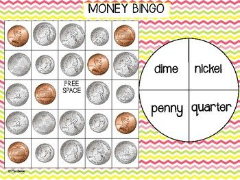 Money Bingo This fun money bingo game is perfect for students learning to identify the appearance and value of coins! The coins in this game are pennies, nickels, dimes and quarters. There are 5 different ways students can practice coin identification:•name to coin•coin to name•coin to value•value to coin•coin to name or value