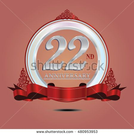 22nd anniversary silver logo with indonesia pattern, soft ring color and red…