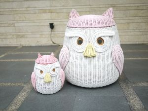 Owl and baby rattan baskets Pinned by www.myowlbarn.com