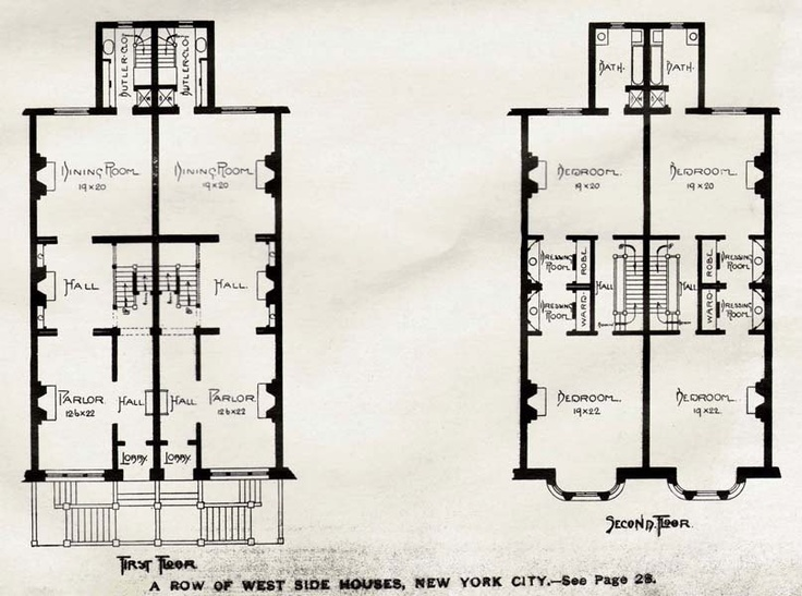 Brownstone row houses west side new york usa 1893 for Brownstone building plans