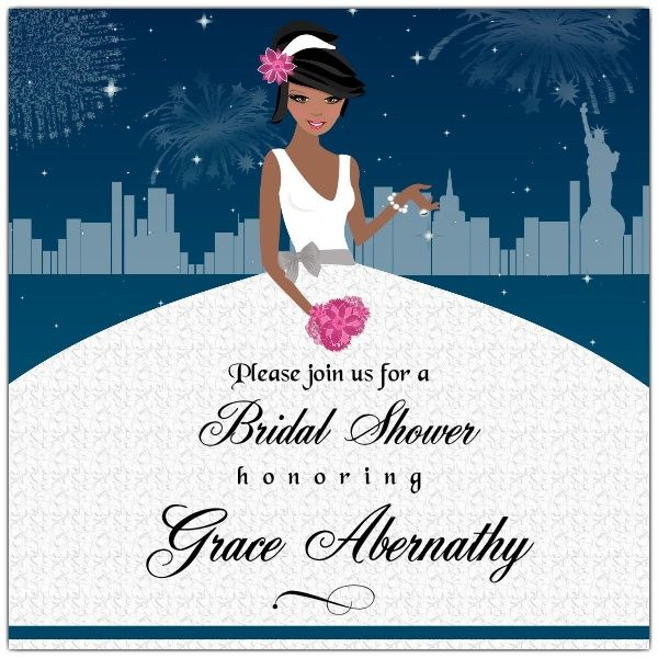 Enchanted City African American Bridal Shower Invitations | PaperStyle