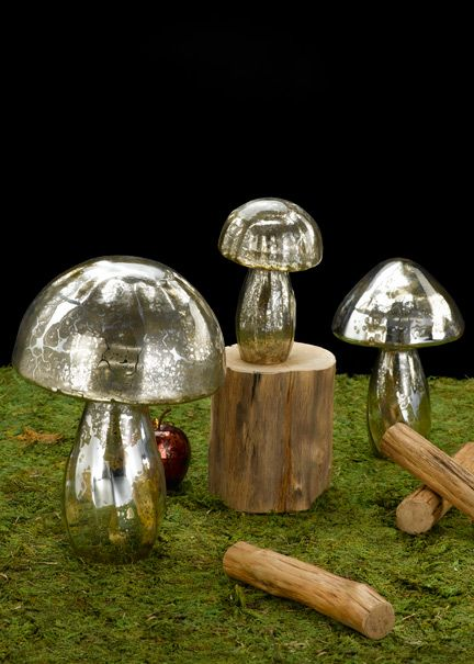 Silver Mercury Glass Mushrooms