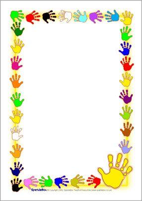 Hand print A4 page borders (SB2634) - SparkleBox