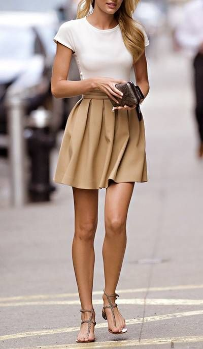 neutrals / love, love, love this outfit / off white tshirt / pleated camel skirt / flat sandals: