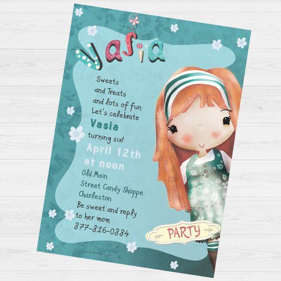 Vasia Party invitation by babyartshop on Etsy
