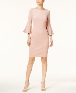 Calvin Klein Metallic Bell-Sleeve Sheath Dress, Regular & Petite Sizes, A Macy's Exclusive Style - Pink 2P
