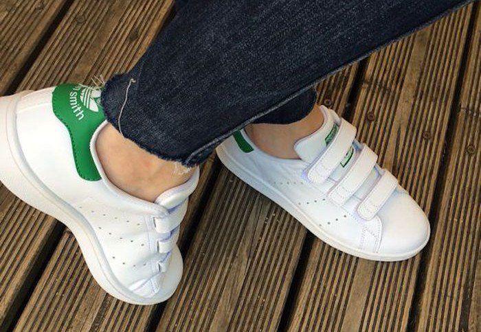 stan smith scratch femme par adidas toute blanche et vert