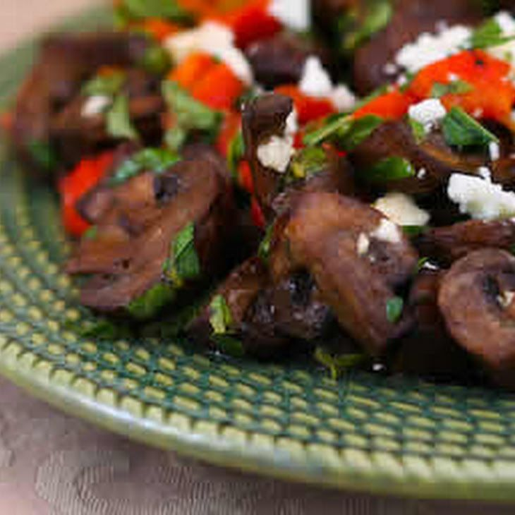 Greek Style Roasted Mushrooms with Red Pepper, Oregano, Mint, and Feta ...
