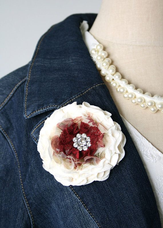 Flower Pin Red and Ivory White Brooch Fabric door rosyposydesigns, $28.00